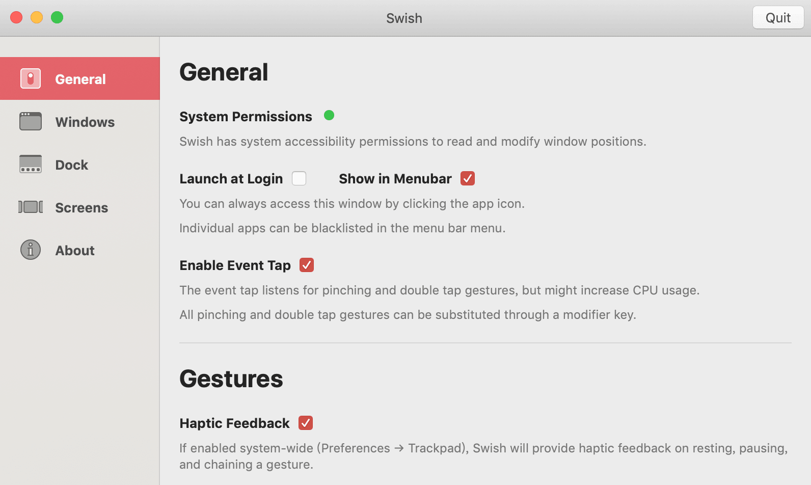Swish 设置界面
