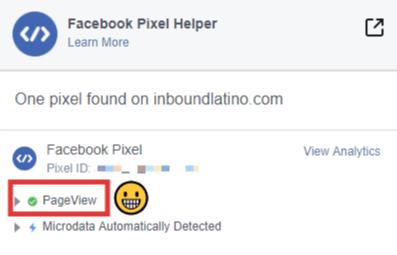 Verificación del pixel de Facebook
