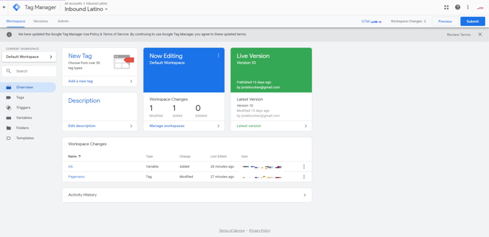 Pantalla principal de Google Tag Manager